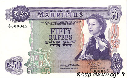 50 Rupees ÎLE MAURICE  1967 P.33a pr.NEUF