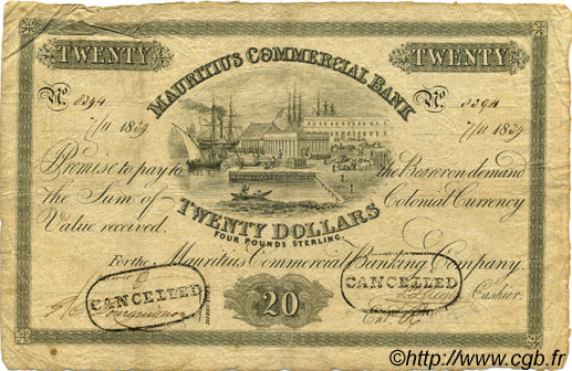 20 Dollars - 4 Pounds Sterling ÎLE MAURICE  1839 PS.125 TB+