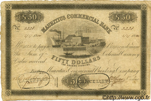 50 Dollars - 10 Pounds Sterling ÎLE MAURICE  1840 PS.126 pr.TTB