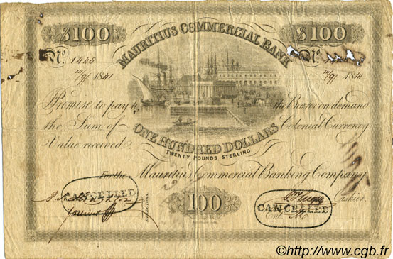 100 Dollars - 20 Pounds Sterling ÎLE MAURICE  1841 PS.127 TB