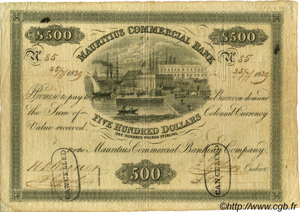 500 Dollars - 100 Pounds Sterling ÎLE MAURICE  1839 PS.129a TB+