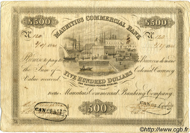 500 Dollars - 100 Pounds Sterling ÎLE MAURICE  1841 PS.129b TB+