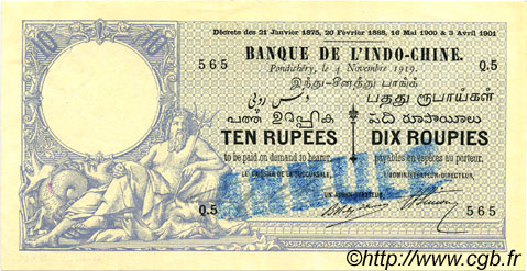 10 Rupees / 10 Roupies INDE FRANÇAISE  1919 P.002bs SUP+