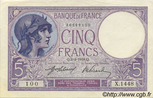 5 Francs VIOLET FRANCE  1918 F.03.02 SUP à SPL
