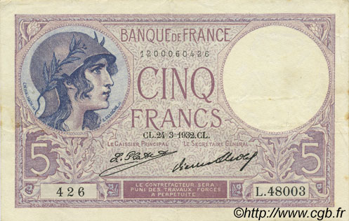5 Francs VIOLET FRANCE  1932 F.03.16 pr.SUP