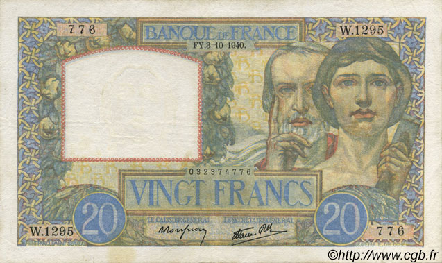 20 Francs SCIENCE ET TRAVAIL FRANCE  1940 F.12.08 TTB+
