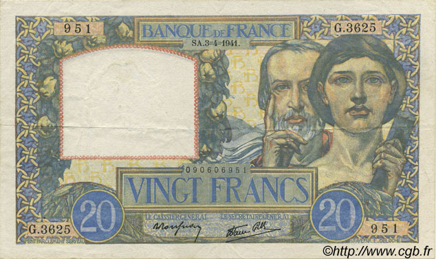 20 Francs SCIENCE ET TRAVAIL FRANCE  1941 F.12.13 TTB+
