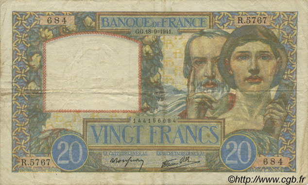 20 Francs SCIENCE ET TRAVAIL FRANCE  1941 F.12.18 pr.TTB