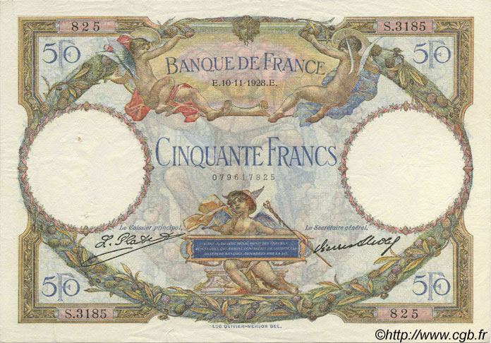 50 Francs LUC OLIVIER MERSON FRANCE  1928 F.15.02 SUP