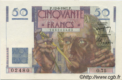 50 Francs LE VERRIER FRANCE  1947 F.20.08 NEUF