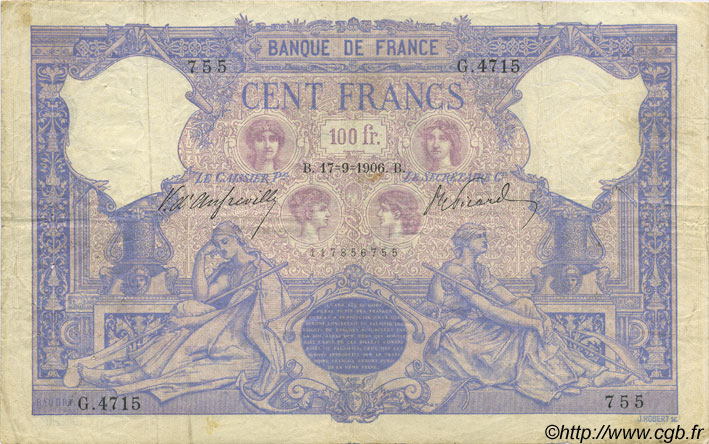100 Francs BLEU ET ROSE FRANCE  1906 F.21.20 pr.TB