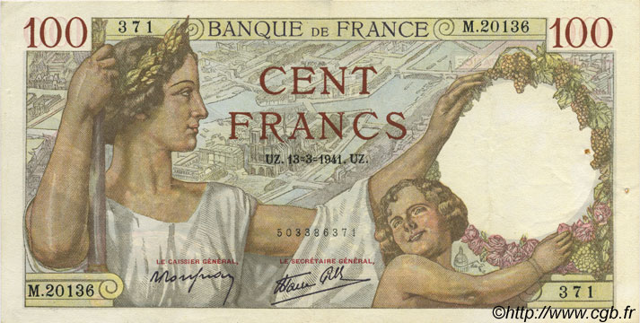 100 Francs SULLY FRANCE  1941 F.26.48 SUP