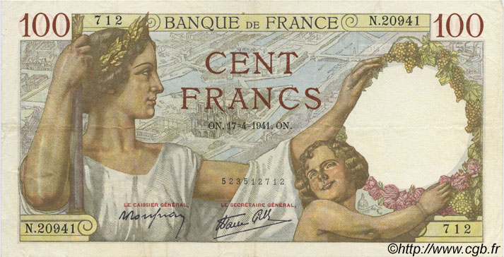 100 Francs SULLY FRANCE  1941 F.26.50 SUP