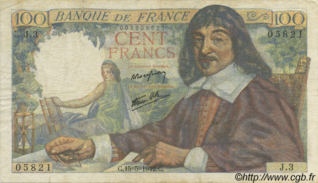 100 Francs DESCARTES FRANCE  1942 F.27.01 TB+