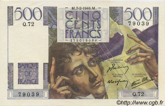 500 Francs CHATEAUBRIAND FRANCE  1946 F.34.04 SUP