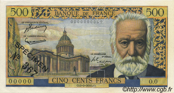 500 Francs VICTOR HUGO FRANCE  1954 F.35.00 NEUF