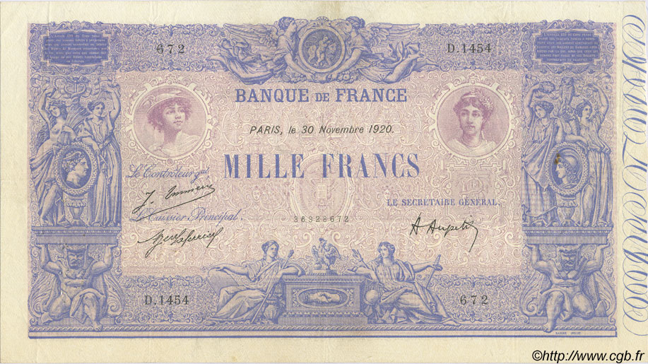 1000 Francs BLEU ET ROSE FRANCE  1920 F.36.36 TTB