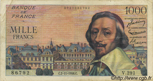 1000 Francs RICHELIEU FRANCE  1956 F.42.23 TB