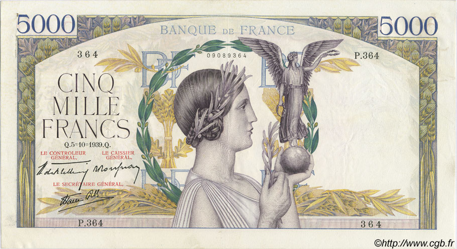 5000 Francs VICTOIRE Impression à plat FRANCE  1939 F.46.13 SUP