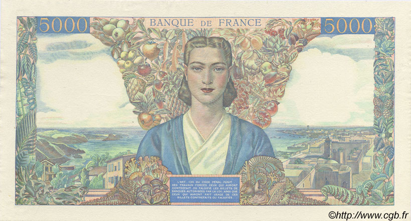 5000 Francs EMPIRE FRANÇAIS FRANCE  1942 F.47.00 pr.NEUF