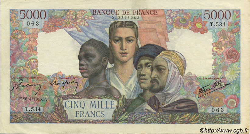 5000 Francs EMPIRE FRANÇAIS FRANCE  1945 F.47.23 SUP