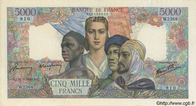 5000 Francs EMPIRE FRANÇAIS FRANCE  1946 F.47.54 TTB+