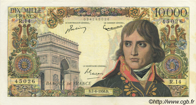 10000 Francs BONAPARTE FRANCE  1956 F.51.03 SUP
