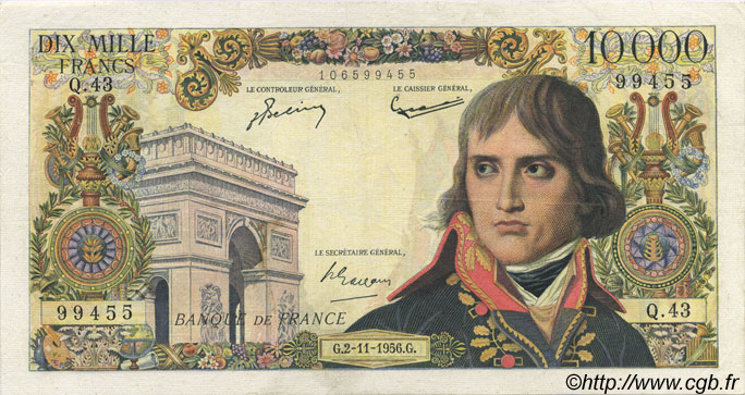 10000 Francs BONAPARTE FRANCE  1956 F.51.05 TB+ à TTB