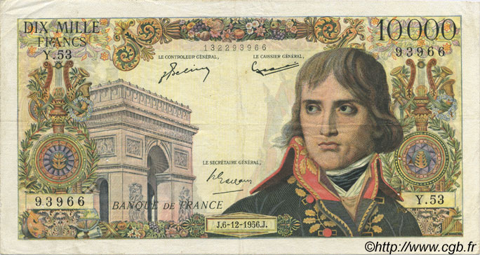 10000 Francs BONAPARTE FRANCE  1956 F.51.06 TTB