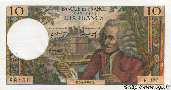 10 Francs VOLTAIRE FRANCE  1968 F.62.34 pr.NEUF