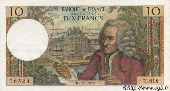 10 Francs VOLTAIRE FRANCE  1972 F.62.58 SUP+