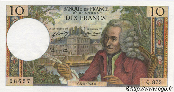 10 Francs VOLTAIRE FRANCE  1973 F.62.61 NEUF