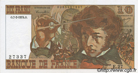 10 Francs BERLIOZ FRANCE  1974 F.63.03 SPL+