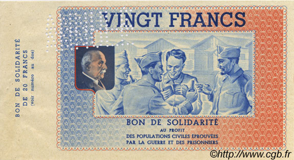 20 Francs BON DE SOLIDARITE FRANCE régionalisme et divers  1941 KL.08As SPL
