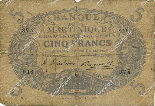5 Francs Cabasson bleu MARTINIQUE  1901 P.05C B