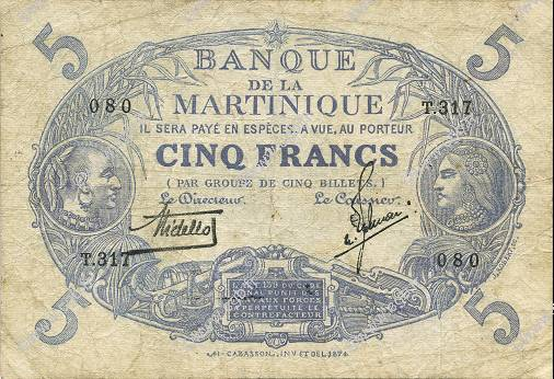 5 Francs Cabasson bleu MARTINIQUE  1935 P.06var TB