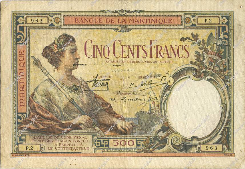 500 Francs type 1927 MARTINIQUE  1933 P.14 TB+