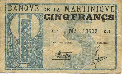 5 Francs MARTINIQUE  1941 P.16A TB à TTB