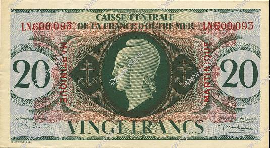 20 Francs type 1943 MARTINIQUE  1946 P.24 SUP