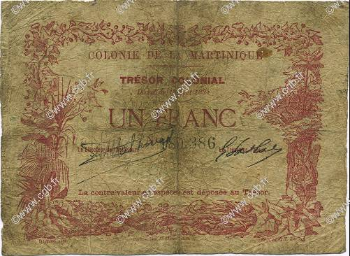 1 Franc MARTINIQUE  1884 P.02 B+