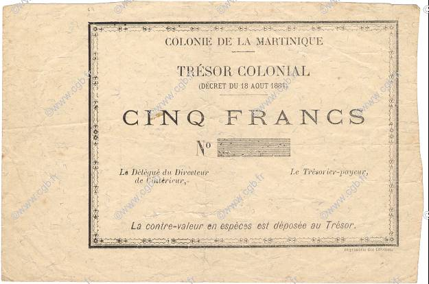 5 Francs MARTINIQUE  1895 P.04r pr.TTB