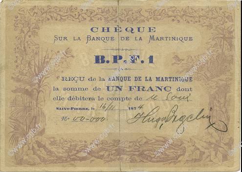1 Franc MARTINIQUE  1874 P.05A TTB+