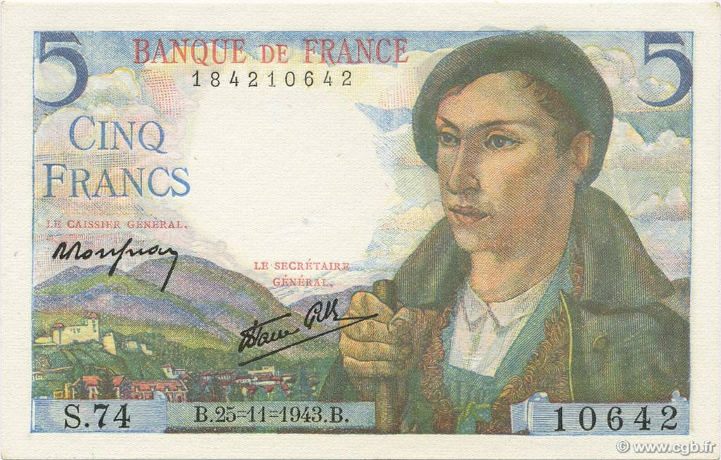 5 Francs BERGER FRANCE  1943 F.05.04 NEUF