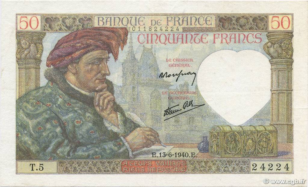 50 Francs JACQUES CŒUR FRANCE  1940 F.19.01 TTB à SUP