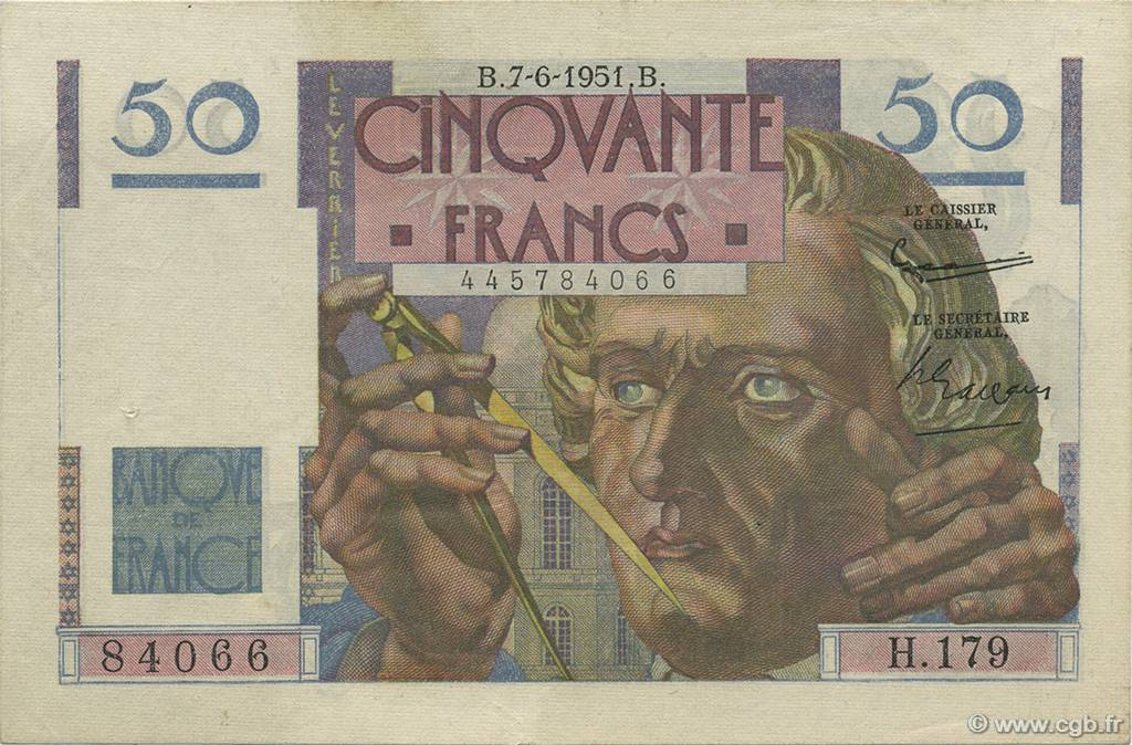 50 Francs LE VERRIER FRANCE  1951 F.20.18 SUP+