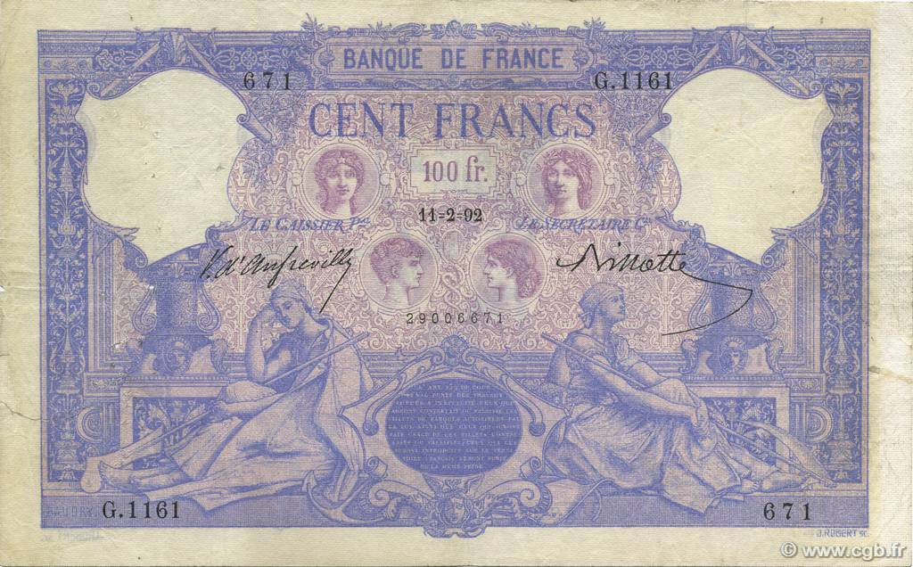 100 Francs BLEU ET ROSE FRANCE  1892 F.21.05 pr.TB