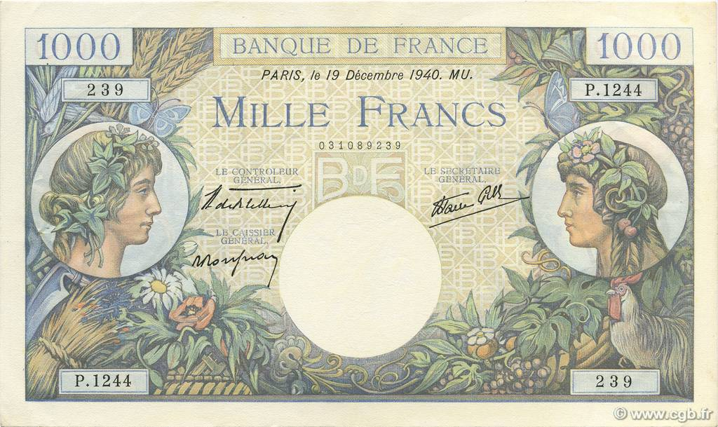 1000 Francs COMMERCE ET INDUSTRIE FRANCE  1940 F.39.03 SUP+