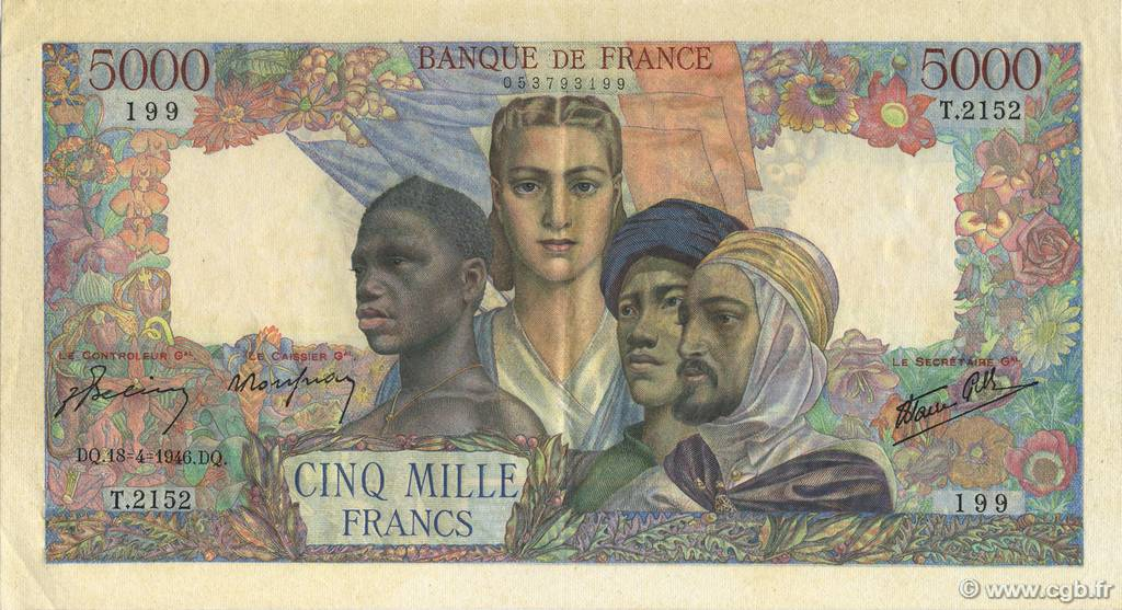 5000 Francs EMPIRE FRANÇAIS FRANCE  1946 F.47.52 SUP