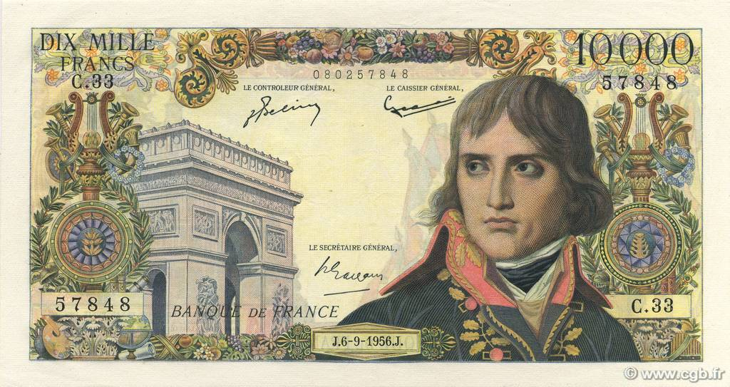 10000 Francs BONAPARTE FRANCE  1956 F.51.04 SUP
