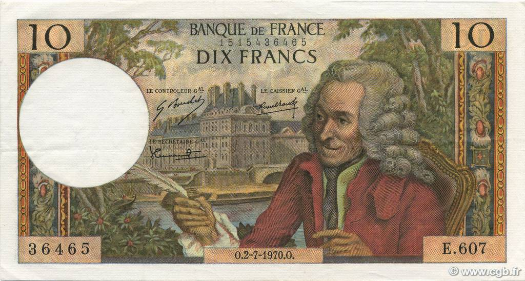10 Francs VOLTAIRE FRANCE  1970 F.62.45 pr.SUP